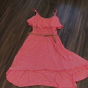 No Boundaries red white stripped high low dress
